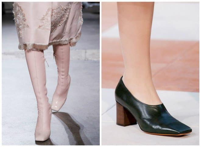 Квадратный носок у туфель